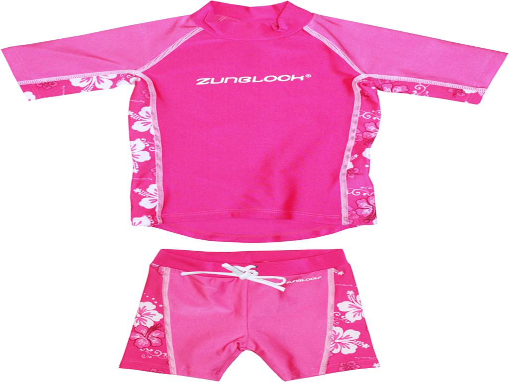 Traje de baño marca Zunblock polera manga corta+short diseño hibiscos rosado upf 50+